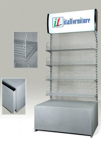 Articolo etm002 espositore in metallo con magazzino e for Negozio di metallo con appartamento